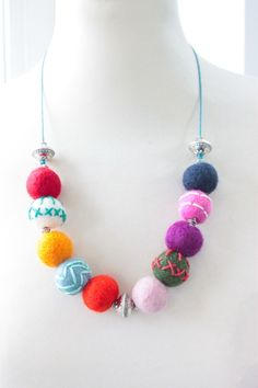 Embroidered Felt Ball Necklace - Long £20.00