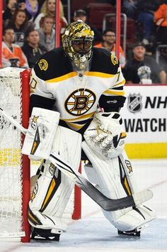 Boston Bruins goalie Malcolm Subban (70) watches a play during over time of a preseason NHL hockey game against Philadelphia Flyers, Saturday, Oct. 1, 2016, in Philadelphia. (AP Photo/Derik Hamilton)