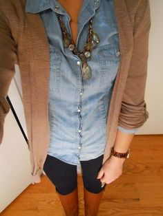 Fall Outfit With Denim Shirt And Brown Cardigan