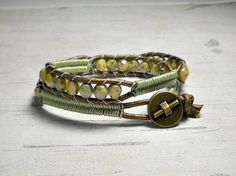 Leather Double Wrap Bracelet Green Bead by BeadWorkBySmileyKit, $28.00
