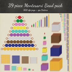 Montessori Beads Clipart Vector 39 Piece Pack by TheGeekeryStore Montessori Education, Montessori Classroom, Montessori Activities, Homeschooling Resources, Math Clipart, Mathematics Geometry, Math Manipulatives, Math About Me, Digital Scrapbook Paper