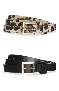Lot de 2 ceintures noir et motif léopard