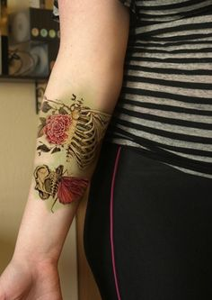 Flowers & skeletons tattoo Design Idea - Tattoo Design Ideas