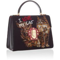 I Love My Cat' Top Handle Bag   Moda Operandi ($380) ❤ liked on Polyvore featuring bags, handbags, shoulder bags, handle bag, velvet purse, top handle handbags, top handle bags and cat purse