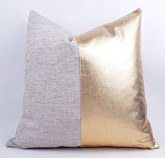 LOVE THIS AS A ACCENT THROW PILLOW. Sukan / / 1 Linen Pillow Cover Gold  gold pillow  gold by sukan, $39.00