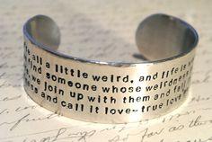We are a Litte Weird Dr. Seuss Hand Stamped Cuff Bracelet. $30.00, via Etsy.