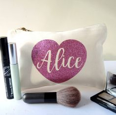 Custom glitter wedding birthday gifts bride bridesmaid maid of honour Make Up makeup comestic Bags toiletry pouches party favors Wedding Thank You Gifts, Bride Gifts, Bridesmaid Makeup Bag, Alice, Rose Gold, Glitter Wedding, Toiletry Bag, Customized Gifts, Custom Gifts