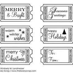 The Beary Scrap Paper Crafting Boutique: Free Christmas Digi Ticket Stamps Christmas Paper, Christmas Images, Christmas Cards, Free Christmas Printables, Free Printables, Printable Tickets, Card Sentiments, Marianne Design, Tampons
