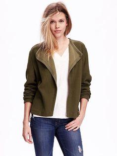 Open-Front Moto Fleece Jacket for Women Product Image