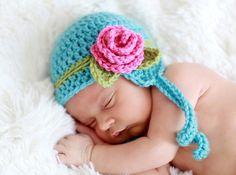 Touca em Crochê BABY ROSE | Bebê Bonito | Elo7