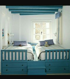 This could also work for that bed that rolls out from a wall- they had theirs in an attic eave, but if we needed space?