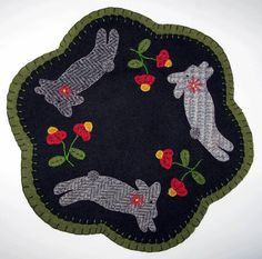 Items similar to Rabbit Run Wool Candle Mat or Penny Rug Pattern SU on Etsy Penny Rug Patterns, Wool Applique Patterns, Hand Applique, Felt Applique, Quilt Patterns, Wool Mats, Rabbit Run, Wool Quilts, Animal Quilts