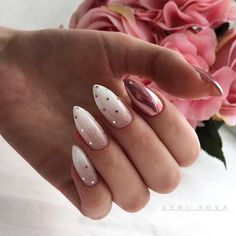 Polka Dot Nails If you love polka dots you're going to love these gorgeous nail designs we've gathered up. Take a look and get inspired by some of the best polka dot nails. Cute Nails, Pretty Nails, Hair And Nails, My Nails, Nail Art Designs, Gel Polish Designs, New Years Nail Designs, Almond Nails Designs, Acrylic Nail Designs