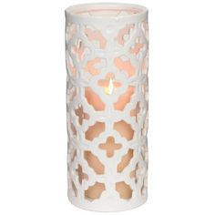 Ceramic White Quatrefoil Hurricane ($15) ❤ liked on Polyvore featuring home, home decor, candles & candleholders, decor, quatrefoil home decor, white candles, white pillar candles, white home accessories and ceramic home decor