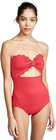 5388977747da2 Amazon.com: Kate Spade New York Women's Scalloped Cutout One Piece Swimsuit,  Rosa