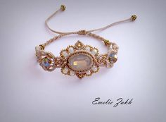 Bracelet micromacrame.Boho bracelet style.Macrame work bracelet.Beads macrame bracelet.Macrame weaving jewelry.White opal cabochon bracelet.