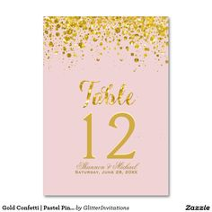 Gold Confetti   Pastel Pink Table Card