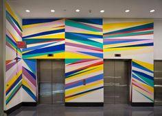 Mural by artist Odili Donald Odita  #mural Elevator Lobby Design, Lobby Interior, Gym Interior, Interior Design, Office Paint, School Murals, Red Walls, Environmental Graphics, Wall Treatments
