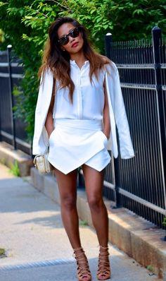 Loving this all white ensemble and coveting the Zara skort.