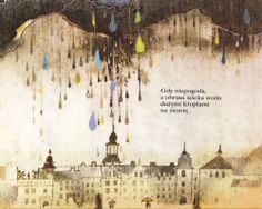 Big black clouds drop rainbow coloured raindrops and fall upon a grand onion domed palace and colourful umbrellas of the people below in this illustration from a vintage Eastern European (Polish) children's book.