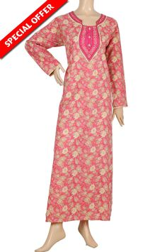 "aljalabiya.com: ""Anja"" Cotton patterned jalabiya with embroidery (N-12920-21) $26.00"