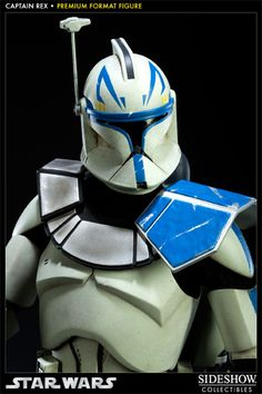 From #StarWars, we are pleased to offer the Captain Rex Premium Format Figure. Standing over 18 inches tall, this limited edition Captain Rex collectible stands upon a base made up of a destroyed Battle #Droid and holding a blaster rifle.  Made of a variety of materials, (including fabric), the Captain Rex Premium Format Figure will look great in your #StarWars collection.