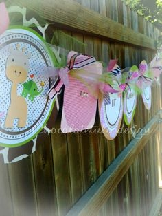 SO CUTE!  Jungle Animal Baby Shower Banner Pink by chocolatetulipdesign,
