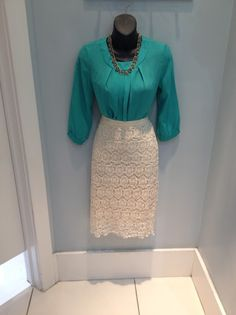 Teal pleated front top 26.99, Mikarose lace pencil skirt 44.99