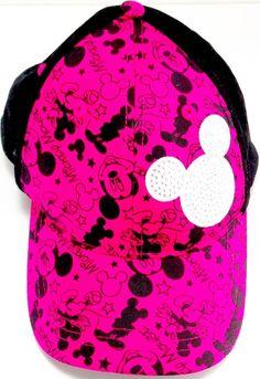 e28f75fcff27 Mickey Mouse Hat Youth Disney Dark Pink  amp  Black Sewn Jeweled Icon  Velcro Back