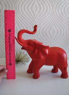 Ollie the fun red elephant by mahzerandvee on Etsy, $49.00