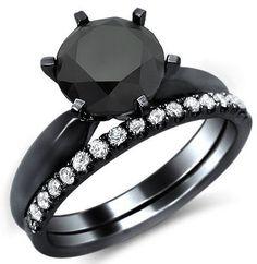2.11ct Black Round Diamond Engagement Ring Bridal Set 14k Black Gold / Front Jewelers