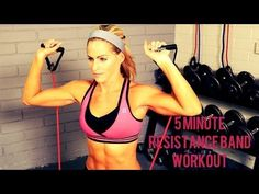 5 Min Toned Arms Stretch Band Workout - YouTube