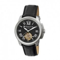$496.00 (50% off) HERITOR Franklin Black Engraved Dial Black Leather Men`s Watch @ Jomashop - Bargain Bro