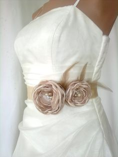 Handcrafted  Champagne Two Flowers Wedding Dress  by elitewomen, $43.00