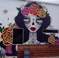 by Amanda Valdés - West Palm Beach, FL, 2014 (LP) Stencil Art, Stencils, Mexican Bar, Comic Books Art, Urban Art, Amazing Art, Oil On Canvas, Sculptures, Artsy