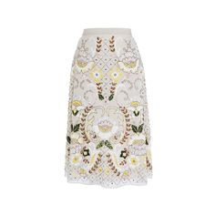 Needle Thread ($450) ❤ liked on Polyvore featuring skirts, high rise skirts, high waisted skirts, high waisted knee length skirt, knee high skirts and floral printed skirt