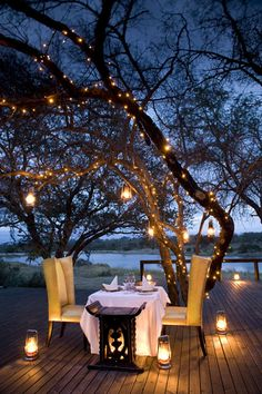 Romantic dinner setting with lanterns