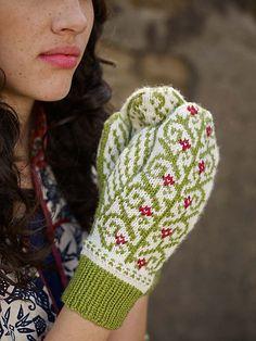 Ravelry: Rosita Mittens pattern by Adriana Hernandez [knit mittens colorwork flowers]