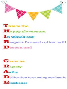 Free Third Grade Acrostic Poster
