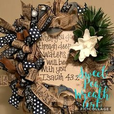 Inspiring and beautiful! This Wreath was made with love for Louisiana and its inspiration was the strength of our state through the devastating floods of 2016. Made with premium burlap mesh, high quality and beautiful ribbons. Adorned with a hand painted Louisiana sign with inspiring Isaiah 43:2 verse, beautiful magnolia, palmetto, and Spanish moss accents.  As a thank you, all purchases with receive a 10% thank you coupon toward your next purchase