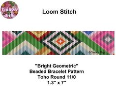 Bright Geometric Loom Beaded Bracelet Pattern by TinkersDrift