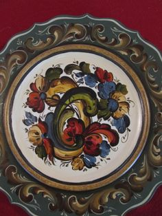 Norwegian Rosemaling in Telemark Style on a 12 by Folkartbycathy