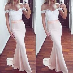 Prom Gown,Pearl Pink Prom Dresses With Lace,Off The Shoulder Evening Gowns,Mermaid Formal Dresses,Pink Prom Dresses 2016