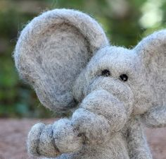 Needle Felted Wool Elephant by TheWoollyPear on Etsy
