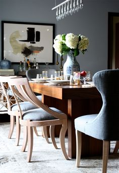 Modern and collected dining room by @victoriamstudio features our Josephine and Grace Dining Chairs. #serenaandlily