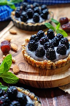 These No Bake Blackberry Tarts with Blueberry Cashew Cream have no sugar added, are dairy free and gluten free. The tart shell is made from nuts and dates with a cashew cream filling, making this a healthy and delicious, easy to make dessert.