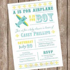 Boy airplane baby shower invitation aviation by ModernBeautiful