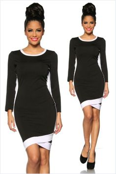 Sportlich Cocktail-Kleid Minikleid Langarm Fashion - Schwarz-Weiß, XS-M one size - http://stores.ebay.de/FEMMEstyle-Fashion/Young-Fashion-/
