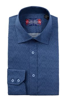 Long Sleeve Stretch Floral Print Dress Shirt