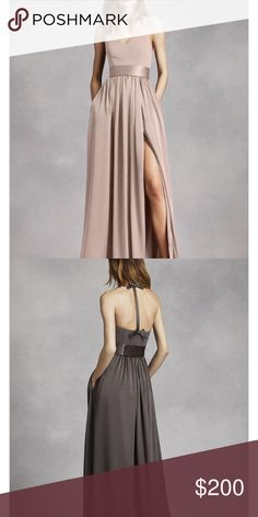 NEW ✨ V Neck Prom/Gown Dress with Sash Style: VW360214 Color: Biscotti The color is the one from the first picture, the second photo is for you to see the back only.  An exquisite gown that is perfect for a wedding party or any special event! V-neck halter gown with matte crepe bodice features bow detail at back. Long soft charmeuse skirt with middle slit and trapunto-stitched satin sash finishes off the look. Size 8 Fully lined. Back zip. Imported crepe/matte/charmeuse. Dry clean only. Vera…